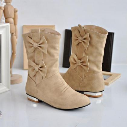 Womens Cute Bowknot Suede Casual Ro..