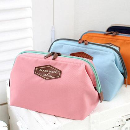 Cosmetic Bag Women Pure Color Cotto..