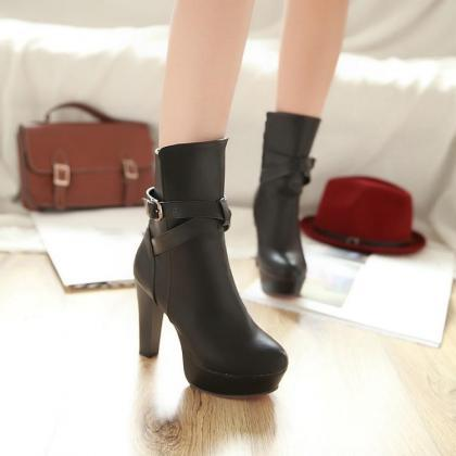 Ankle Boots Women Pure Color Leathe..
