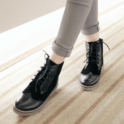 PU Mixed Color Round Toe Lace Up Lo..