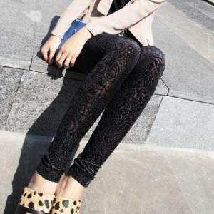 Stylish Floral Leggings In Black
