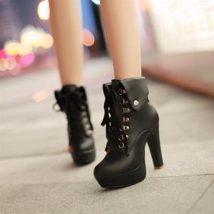 Chic Black Lace Up Martens Ankle Bo..