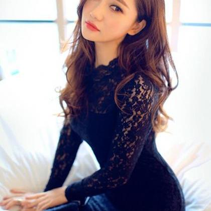 Long Sleeve Lace Black Bodycon Dres..