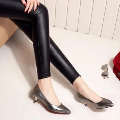 Pointed-Toe Kitten Heels Pumps with..