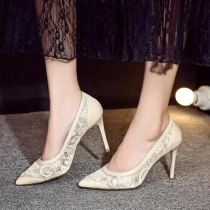 Red / Apricot - Pointed Toe Lace Hi..