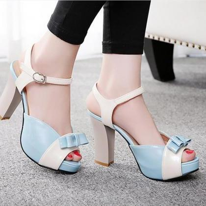 Sandals Heels Women Sweet Bow Hasp ..