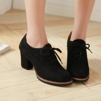 Pumps Heels Women Fashion Lace Up T..