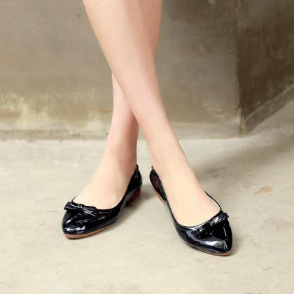Pointed Toe Patent Leather Ballerin..