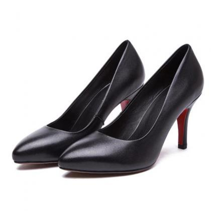 Black Faux Leather Pointed-Toe High..