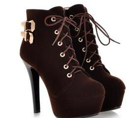 Sexy Brown Lace Up H..