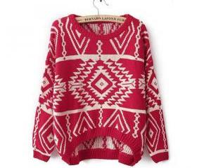 Red Aztec Sweater Kn..
