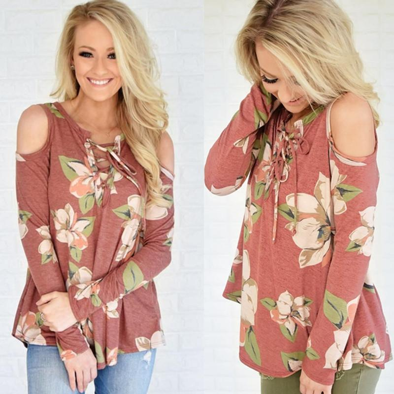 2017 Womens Floral Printed Full Sleeved Off Shoulder Casual Shirt Blouse Tops