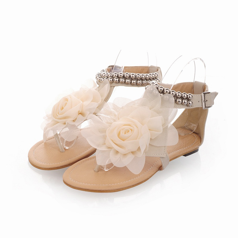 8e2d8d3b1b0fa Beige   Pink   Blue Sweaty Women Flat Sandals With Flower On Top Beading  Strip Beach Sandals on Luulla