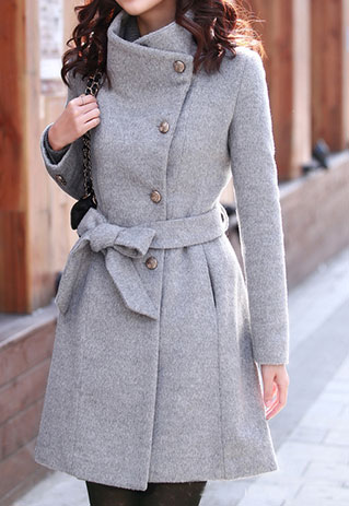 European Style Slim Bowknot Sash Pure Color Worsted Coat