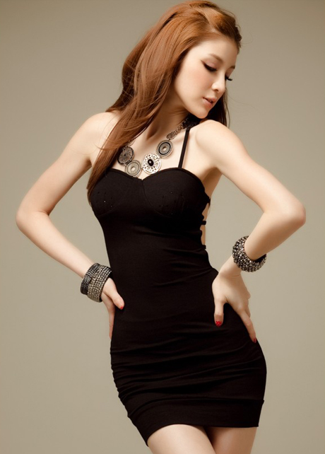 Above Knee Open Back Spaghetti Strap Dress - Black