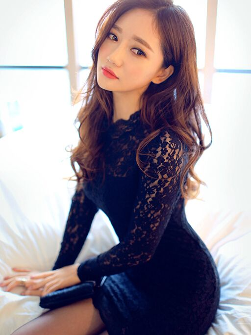 Long Sleeve Lace Black Bodycon Dress with Cut Out Scalloped Back Details