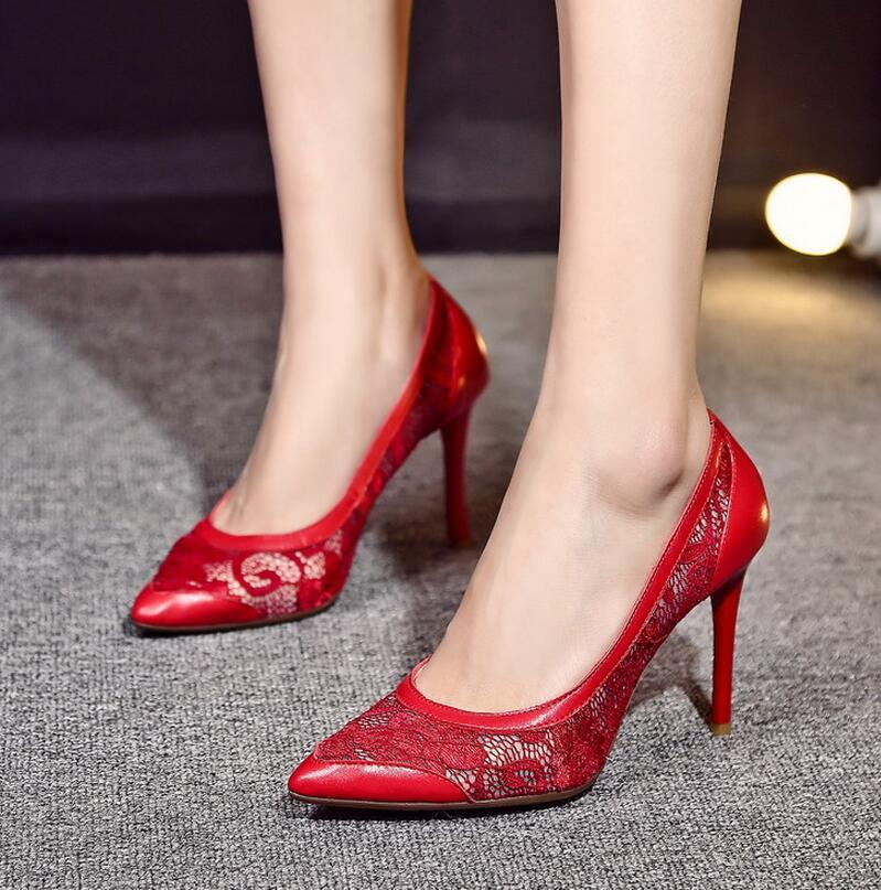 Red / Apricot - Pointed Toe Lace High Heel Pumps