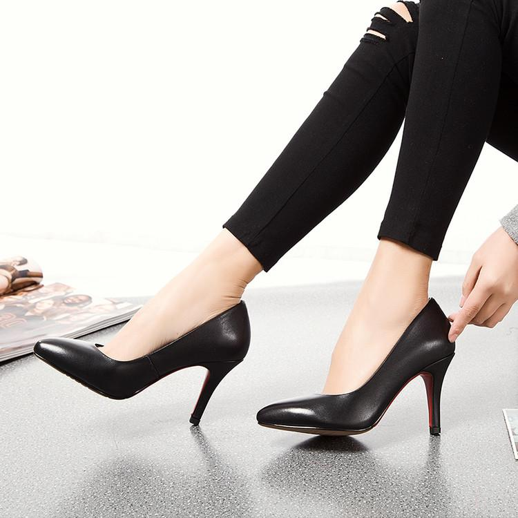 Black Faux Leather Pointed-Toe High Heel Stilettos