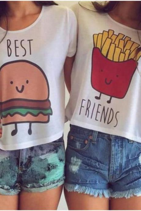 "Girls Fashion Cute ""Best Friend"" Tops T-Shirts"