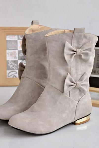 Womens Cute Bowknot Suede Casual Round Toe Flat Heel Ankle Boots