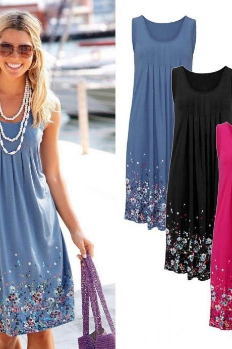 Dress Women Summer Casual Party Floral Printing Sleeveless Beach