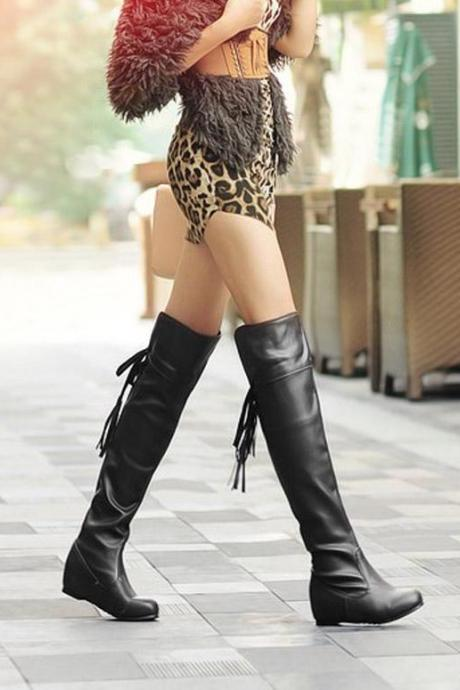 Over Knee High Boots Women Pure Color Leather Thin Flat Heel