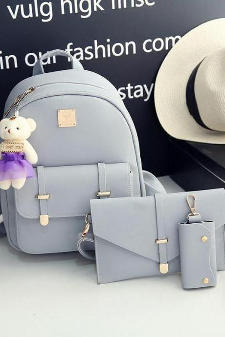 Backpack Girl Cute Leather Pure Color 3 Pieces Cartoon