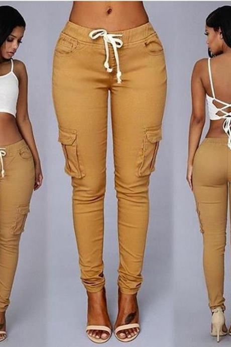 Trousers Women Slim Casual Lace Up With Pockets