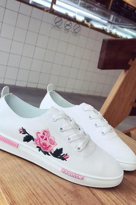 Sneakers Women Embroidery Rose White Casual
