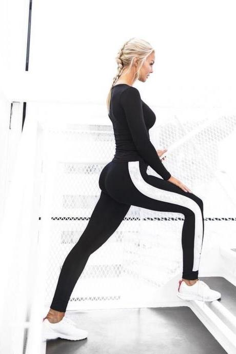 Womens Hot Sale Black White Block Patchwork Elastic Yoga Sport Running Brethable Pants