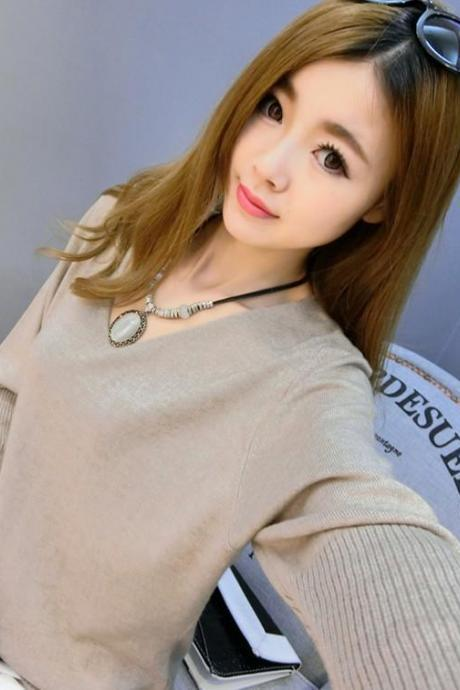 Knit Plunge V Long Cuffed Sleeves Sweater