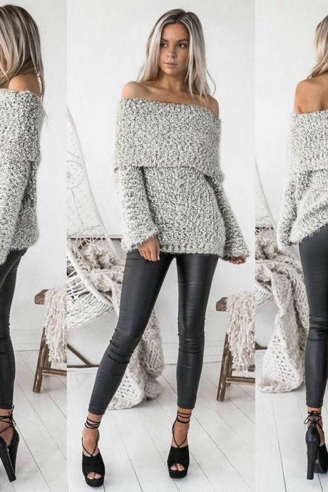Knit Off-The-Shoulder Long Sleeves Sweater
