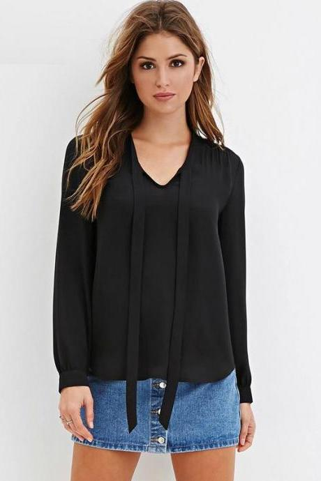 Chiffon Bow Accent Plunge V Long Cuffed Sleeves Top