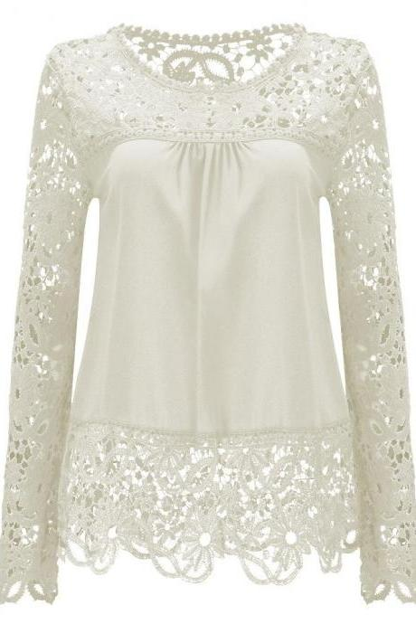 Womens Sheer Sleeve Embroidery Lace Chiffon Shirt