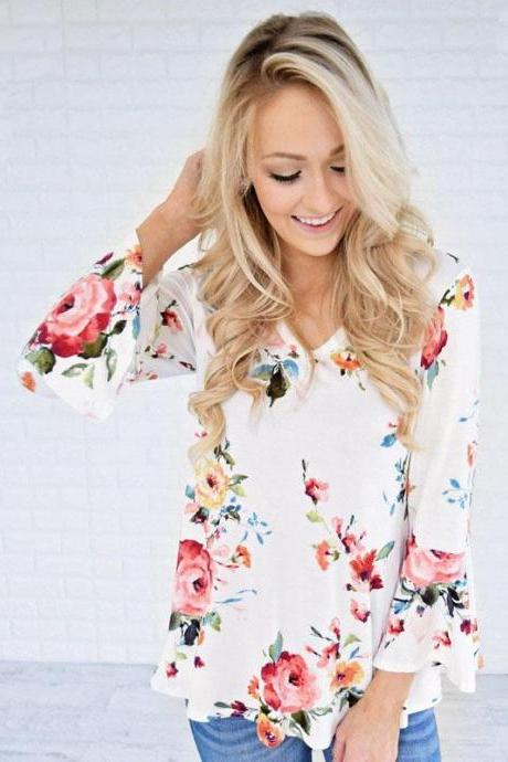 Floral Print Plunge V Long Flared Sleeves Blouse