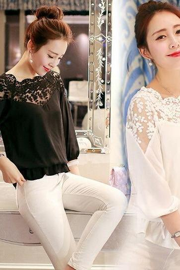 Womens Slim Lace Mesh Casual Long Sleeved O-neck Blouse