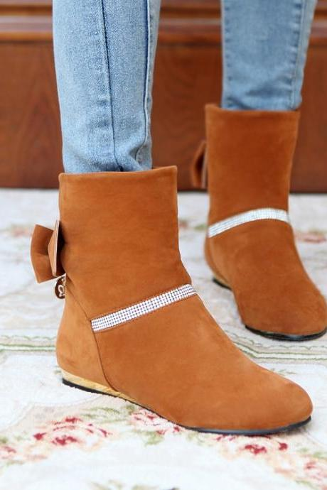 Women's Pure Color Flat Heel Suede Bowknot Short Martin Boots