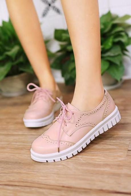 Women's Pure Color Flat Heel Shoelace Sneakers