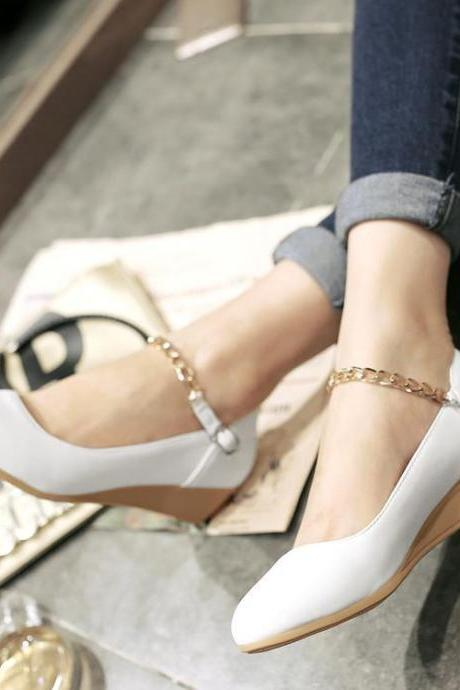 Women's Pure Color Flat Heel Wedge Heel Metal Chain Pumps