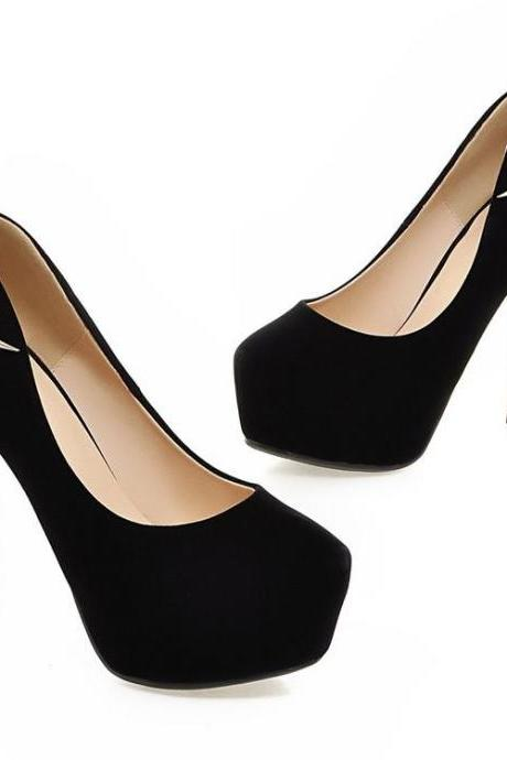 Women's Pure Color Suede Stiletto High Heel Platform Pumps