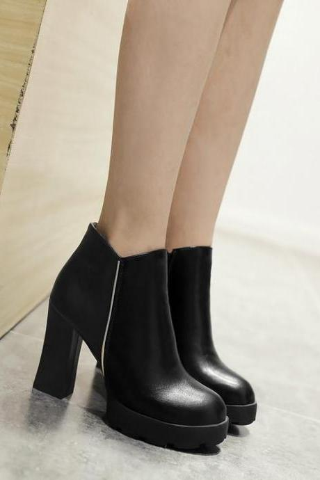 Women's Pure Color Round Toe Thick Heel High Heel Ankle Boots