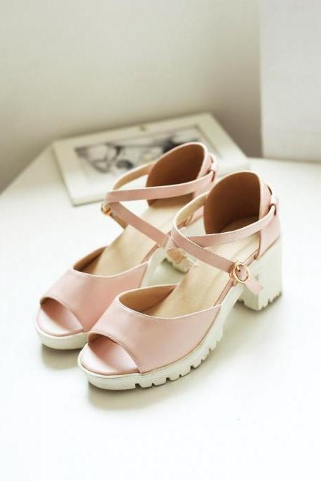 Women's Pure Color Platform Pump Sandals