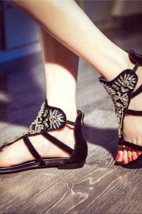Women's Pure Color Casual Clip Toe Flat Sandal With Rhinestone