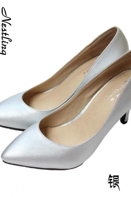 Women's Spring New Style Leather Thin Heel Pumps