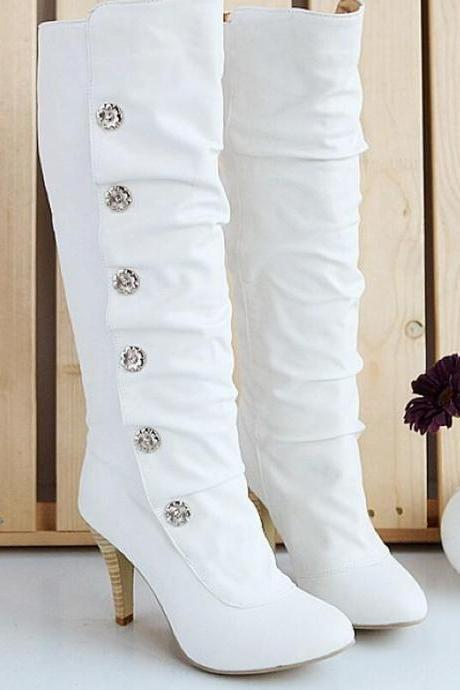 Knee High Boots Women Fashion Solid Color Explosions