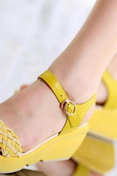 Sandals Heels Women Summer Fashion Simple Colour Matching Wedge