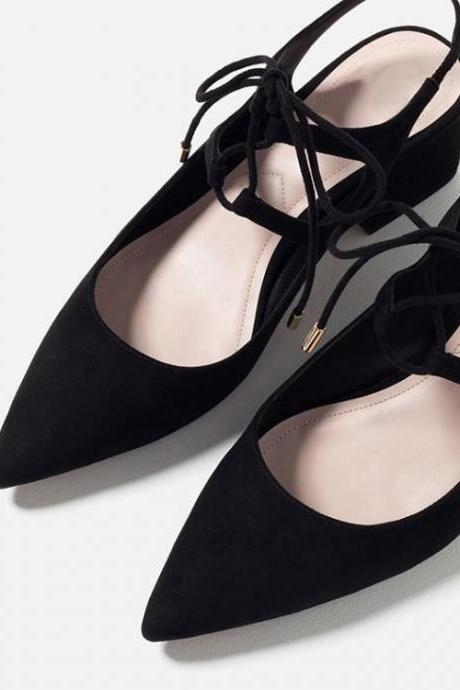 Lace-Up Slingback Ballerina Shoes with Chunky Heel