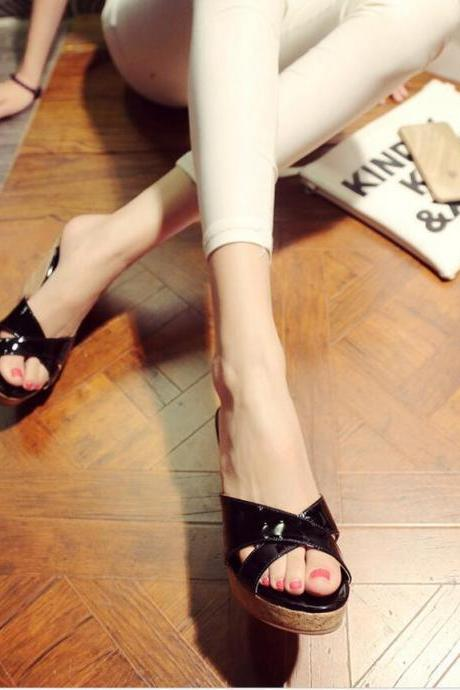 Slippers Women Fashion Leather Wedge High Heel Pumps Solid