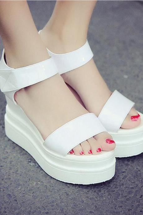 Wedges Women Fashion Leather Platform High Heel Pumps Open Toe Hasp Sandals