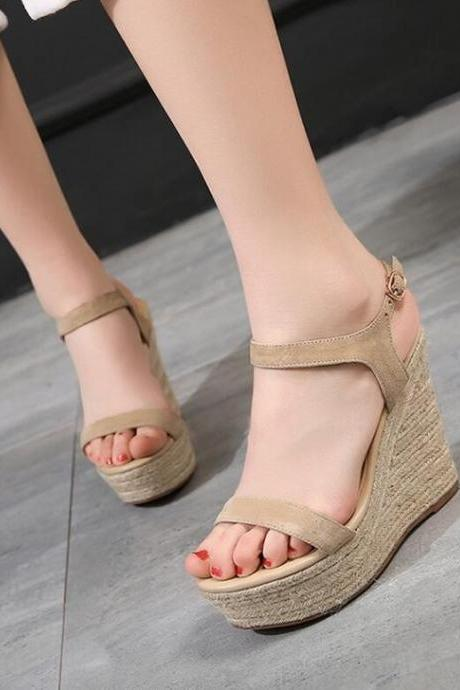 Wedges Women Fashion Hasp Platform High Heel Pumps Open Toe Sandals